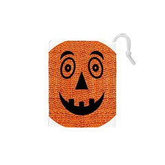 Fabric Halloween Pumpkin Funny Drawstring Pouches (xs)  by Celenk