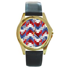 Texture Textile Surface Fabric Round Gold Metal Watch