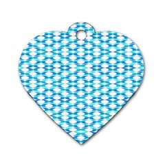 Fabric Geometric Aqua Crescents Dog Tag Heart (one Side) by Celenk