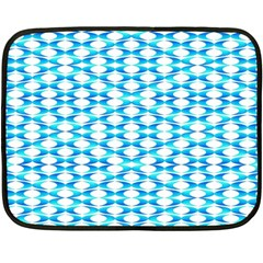 Fabric Geometric Aqua Crescents Fleece Blanket (mini) by Celenk