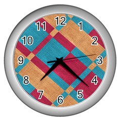 Fabric Textile Cloth Material Wall Clocks (silver)  by Celenk