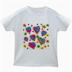 Love Hearts Shapes Doodle Art Kids White T Shirts