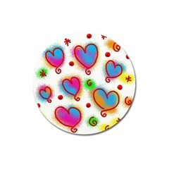 Love Hearts Shapes Doodle Art Magnet 3  (round)