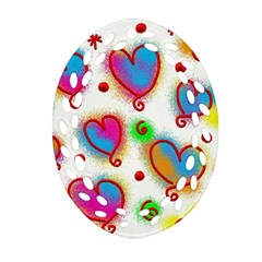 Love Hearts Shapes Doodle Art Oval Filigree Ornament (two Sides) by Celenk