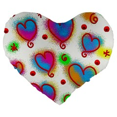 Love Hearts Shapes Doodle Art Large 19  Premium Flano Heart Shape Cushions by Celenk