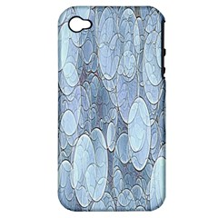 Bubbles Texture Blue Shades Apple Iphone 4/4s Hardshell Case (pc+silicone) by Celenk