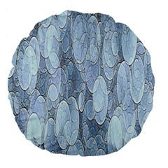 Bubbles Texture Blue Shades Large 18  Premium Flano Round Cushions by Celenk