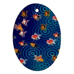 Fish Swim In The Ocean Oval Ornament (two Sides) by Cveti