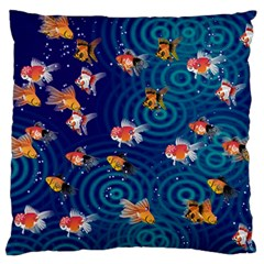 Fish Swim In The Ocean Large Flano Cushion Case (two Sides) by Cveti