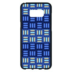 Textiles Texture Structure Grid Samsung Galaxy S8 Plus Black Seamless Case by Celenk