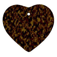 Camouflage Tarn Forest Texture Heart Ornament (two Sides)