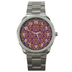 Sacred Geometry Hand Drawing 2 Sport Metal Watch Front