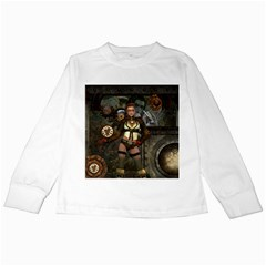 Steampunk, Steampunk Women With Clocks And Gears Kids Long Sleeve T Shirts