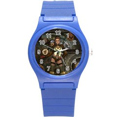 Steampunk, Steampunk Women With Clocks And Gears Round Plastic Sport Watch (s) by FantasyWorld7