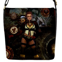 Steampunk, Steampunk Women With Clocks And Gears Flap Messenger Bag (s) by FantasyWorld7