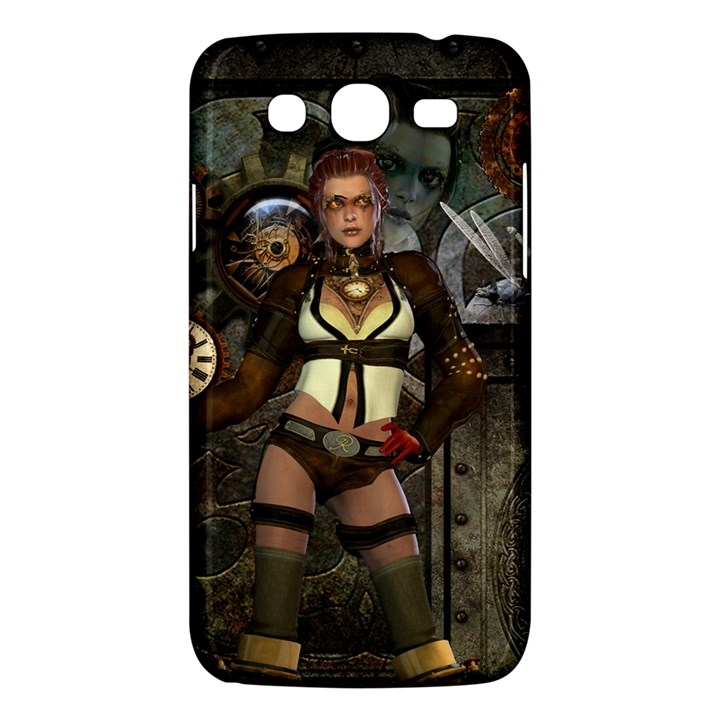 Steampunk, Steampunk Women With Clocks And Gears Samsung Galaxy Mega 5.8 I9152 Hardshell Case