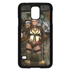 Steampunk, Steampunk Women With Clocks And Gears Samsung Galaxy S5 Case (black) by FantasyWorld7