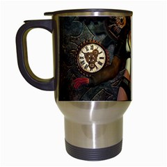 Steampunk, Steampunk Women With Clocks And Gears Travel Mugs (white) by FantasyWorld7
