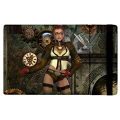 Steampunk, Steampunk Women With Clocks And Gears Apple Ipad 3/4 Flip Case by FantasyWorld7