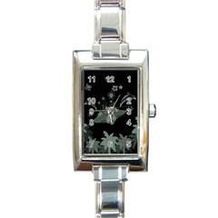 Surfboard With Dolphin, Flowers, Palm And Turtle Rectangle Italian Charm Watch by FantasyWorld7