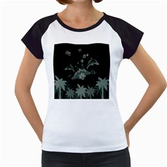 Surfboard With Dolphin, Flowers, Palm And Turtle Women s Cap Sleeve T by FantasyWorld7