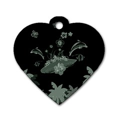 Surfboard With Dolphin, Flowers, Palm And Turtle Dog Tag Heart (two Sides) by FantasyWorld7