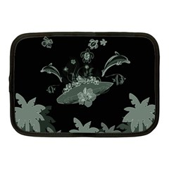 Surfboard With Dolphin, Flowers, Palm And Turtle Netbook Case (medium)  by FantasyWorld7