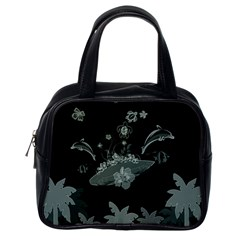 Surfboard With Dolphin, Flowers, Palm And Turtle Classic Handbags (one Side) by FantasyWorld7