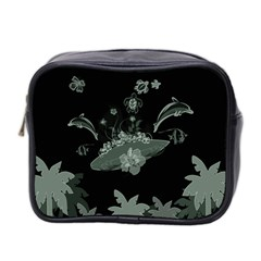 Surfboard With Dolphin, Flowers, Palm And Turtle Mini Toiletries Bag 2 Side by FantasyWorld7