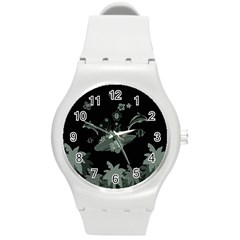 Surfboard With Dolphin, Flowers, Palm And Turtle Round Plastic Sport Watch (m) by FantasyWorld7
