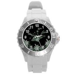 Surfboard With Dolphin, Flowers, Palm And Turtle Round Plastic Sport Watch (l) by FantasyWorld7