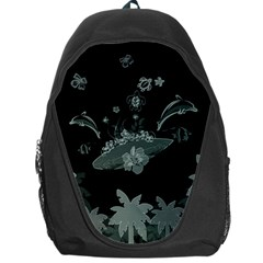 Surfboard With Dolphin, Flowers, Palm And Turtle Backpack Bag by FantasyWorld7
