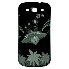 Surfboard With Dolphin, Flowers, Palm And Turtle Samsung Galaxy S3 S Iii Classic Hardshell Back Case by FantasyWorld7