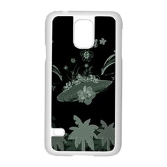 Surfboard With Dolphin, Flowers, Palm And Turtle Samsung Galaxy S5 Case (white) by FantasyWorld7