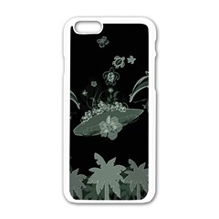 Surfboard With Dolphin, Flowers, Palm And Turtle Apple Iphone 6/6s White Enamel Case by FantasyWorld7