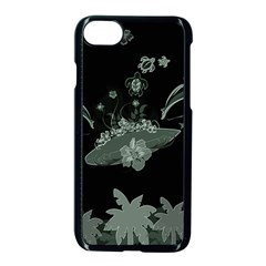 Surfboard With Dolphin, Flowers, Palm And Turtle Apple Iphone 7 Seamless Case (black) by FantasyWorld7