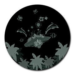 Surfboard With Dolphin, Flowers, Palm And Turtle Round Mousepads by FantasyWorld7
