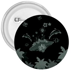 Surfboard With Dolphin, Flowers, Palm And Turtle 3  Buttons by FantasyWorld7