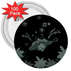 Surfboard With Dolphin, Flowers, Palm And Turtle 3  Buttons (100 Pack)  by FantasyWorld7