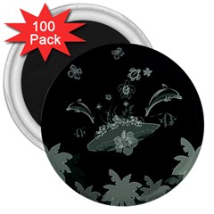 Surfboard With Dolphin, Flowers, Palm And Turtle 3  Magnets (100 Pack) by FantasyWorld7