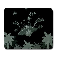 Surfboard With Dolphin, Flowers, Palm And Turtle Large Mousepads by FantasyWorld7