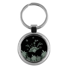 Surfboard With Dolphin, Flowers, Palm And Turtle Key Chains (round)  by FantasyWorld7