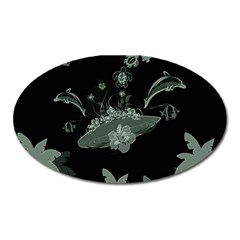 Surfboard With Dolphin, Flowers, Palm And Turtle Oval Magnet by FantasyWorld7