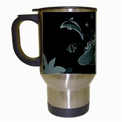 Surfboard With Dolphin, Flowers, Palm And Turtle Travel Mugs (white) by FantasyWorld7