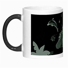 Surfboard With Dolphin, Flowers, Palm And Turtle Morph Mugs by FantasyWorld7