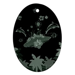Surfboard With Dolphin, Flowers, Palm And Turtle Oval Ornament (two Sides) by FantasyWorld7