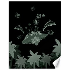 Surfboard With Dolphin, Flowers, Palm And Turtle Canvas 18  X 24   by FantasyWorld7