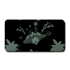Surfboard With Dolphin, Flowers, Palm And Turtle Medium Bar Mats by FantasyWorld7