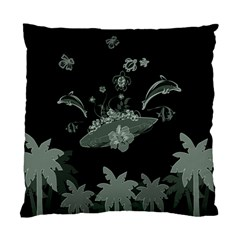 Surfboard With Dolphin, Flowers, Palm And Turtle Standard Cushion Case (two Sides) by FantasyWorld7
