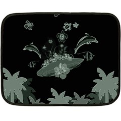 Surfboard With Dolphin, Flowers, Palm And Turtle Fleece Blanket (mini) by FantasyWorld7